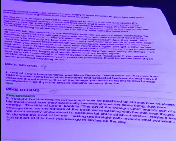 Laurie Anderson's notes from the show