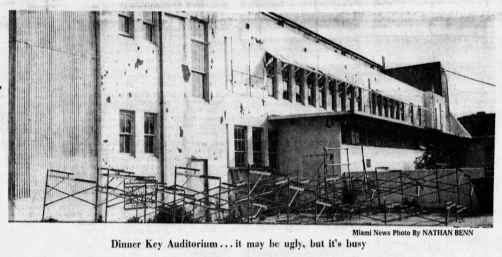 old Dinner key Auditorium from a 1970 Miami News photo