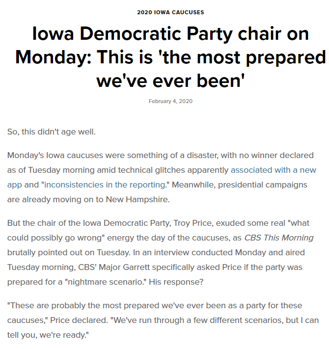 excerpt of embrassing story about Democratic Party's handling of the Iowa Caucus  tally